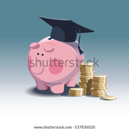 Piggy bank and stack of coins. Saving for education