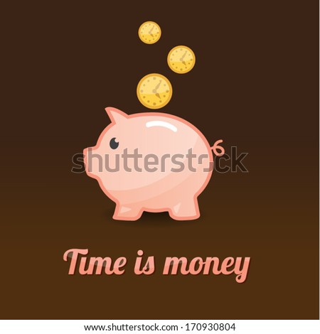 Piggy bank background, time is money - stock vector