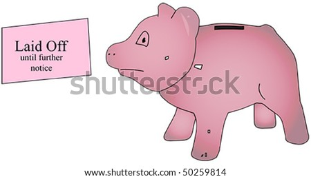Piggy bank being presented pink slip - stock vector
