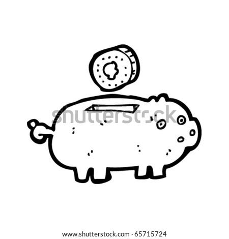 piggy bank cartoon with coin - stock vector