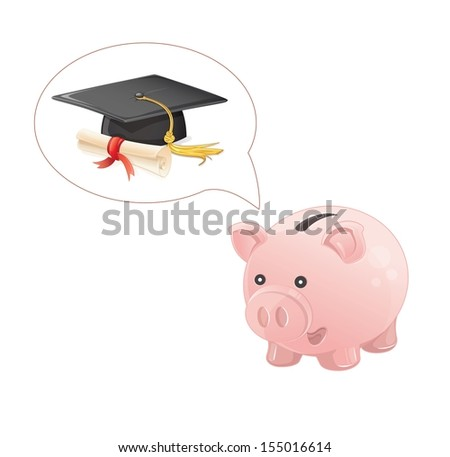 piggy bank dream a graduation - stock vector