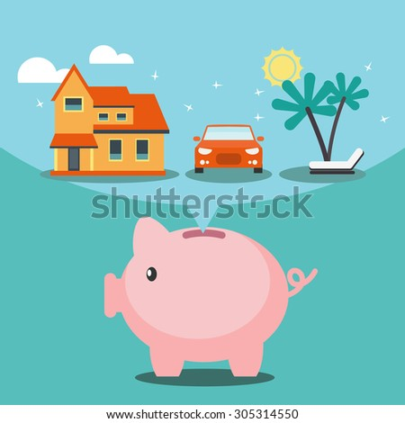 Piggy bank dreaming house, car and holiday. Saving and investing money concept. Future financial planning concept. Modern vector design flat style. - stock vector
