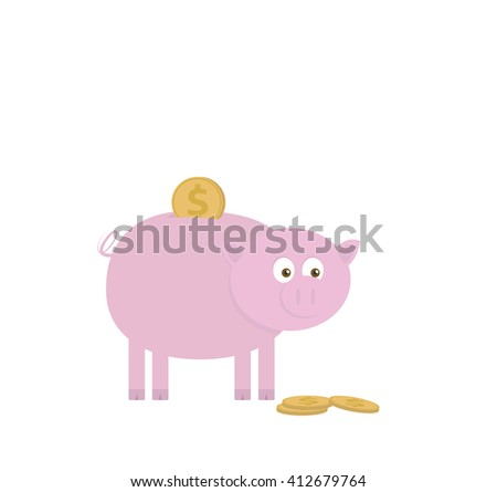 Piggy bank for saving money. Vector illustration of pink pig with gold dollar coins. Interest on a loan. Bank loan. Fees and charges. - stock vector