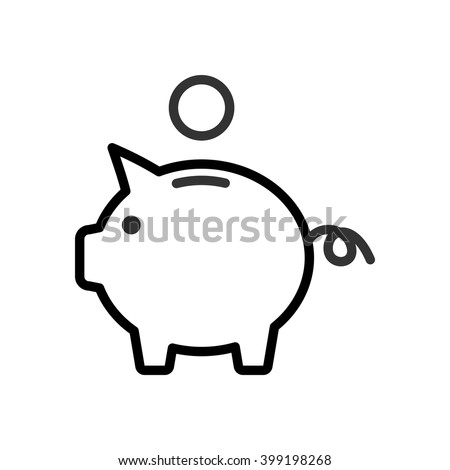 Piggy Bank. Fully scalable vector icon in outline style. - stock vector