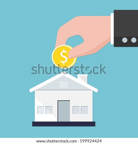 Piggy bank home. Savings concept. - stock vector