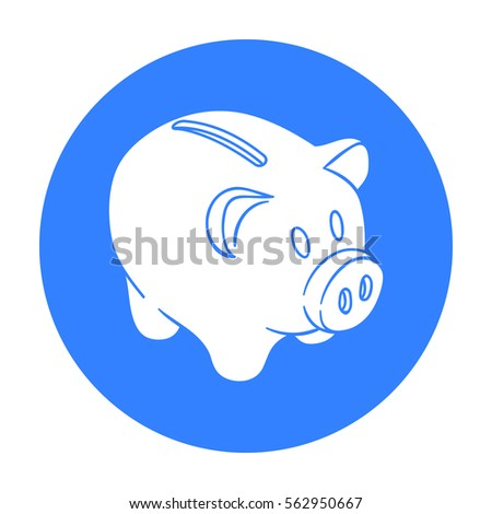 Piggy bank icon in black style isolated on white background. Money and finance symbol stock vector illustration.