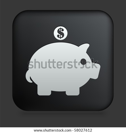 Piggy Bank Icon on Square Black Internet Button Original Illustration - stock vector