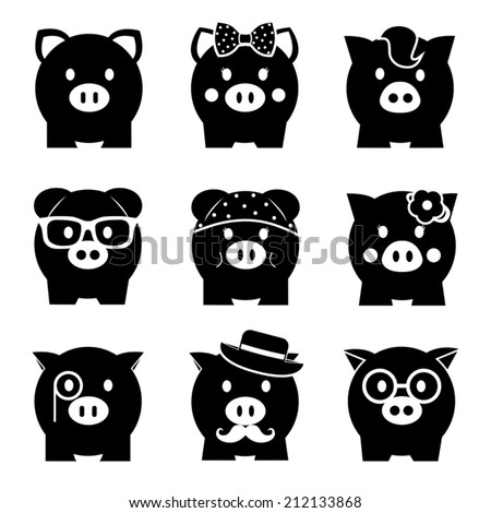 Piggy bank icon set, front view - stock vector