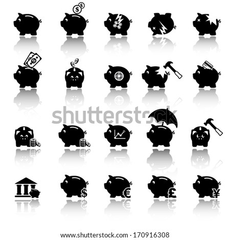 Piggy bank icons, banking and savings - stock vector