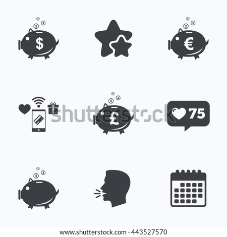 Piggy bank icons. Dollar, Euro and Pound moneybox signs. Cash coin money symbols. Flat talking head, calendar icons. Stars, like counter icons. Vector - stock vector