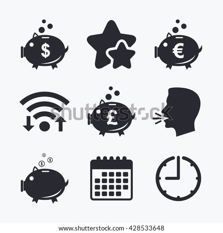 Piggy bank icons. Dollar, Euro and Pound moneybox signs. Cash coin money symbols. Wifi internet, favorite stars, calendar and clock. Talking head. Vector - stock vector