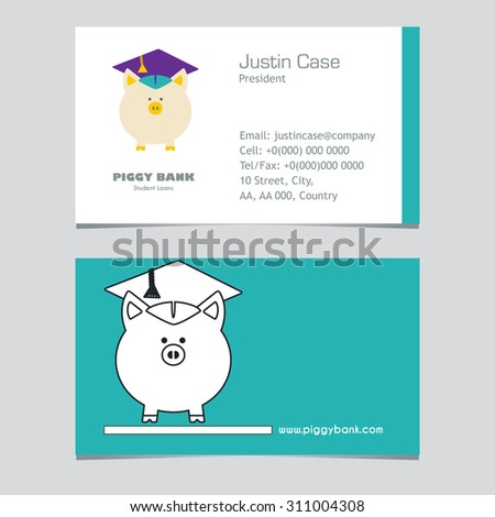 Piggy Bank in Graduate Hat vector sign & business card template in flat & linear style. Student loan, financial aid, money saving plan for high education concept. Sample text. Layered, editable - stock vector