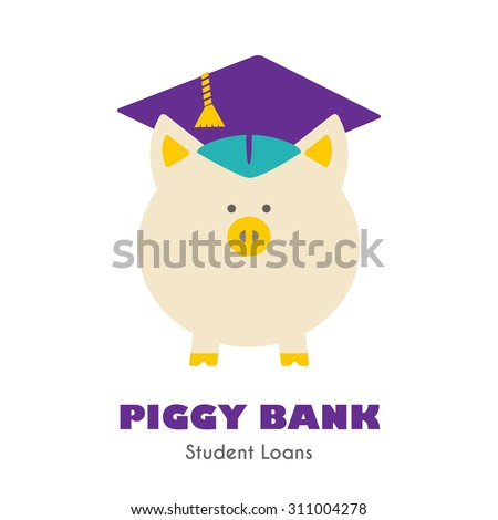 Piggy Bank in Graduate Hat vector sign. Educational icon, business sign template. Student loan, financial aid, money saving plan for high education concept. Sample text. Layered, editable design - stock vector