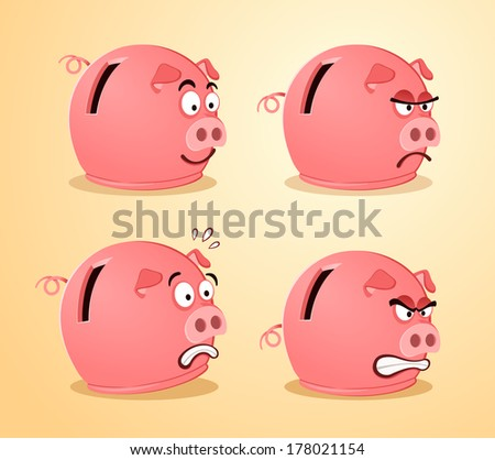 piggy bank in various expression - stock vector