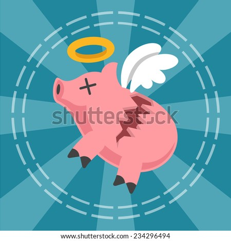 Piggy bank is broken. Vector flat illustration