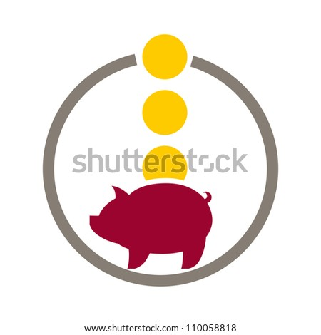 Piggy bank money, vector icon. - stock vector