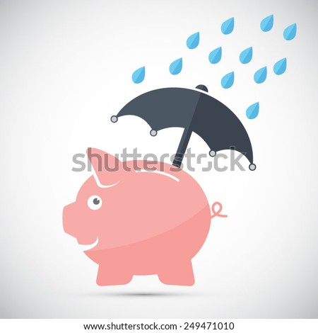 Piggy bank - protecting your savings - EPS10 vector file - stock vector