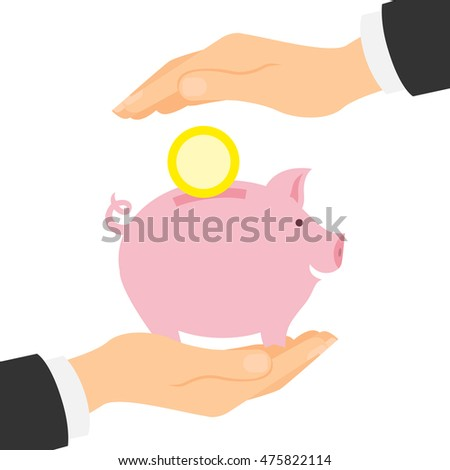 Piggy bank protection. Safety of savings and earnings. Hands palm protect pink piggybank with golden coin.
