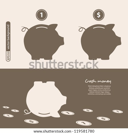 Piggy bank - saving money. Vector. - stock vector