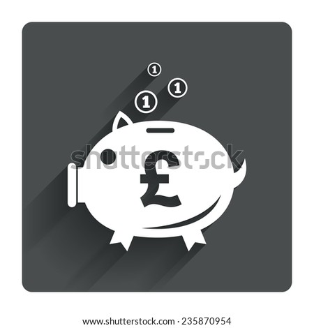 Piggy bank sign icon. Moneybox pound symbol. Gray flat square button with shadow. Modern UI website navigation. Vector - stock vector