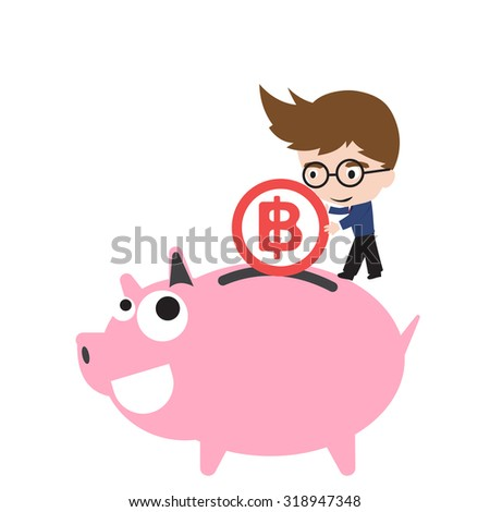 Piggy bank smile and happy, businessman putting money coin, currency Baht symbol for saving financial concept isolated on white background - stock vector