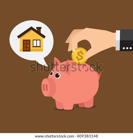 Piggy bank thinking about a house. Save money concept.  Vector illustration - stock vector