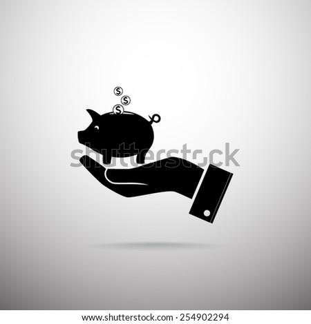 Piggy bank vector icon  - stock vector