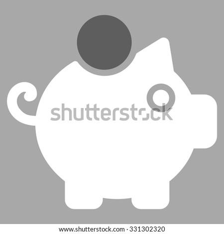 Piggy Bank vector icon. Style is flat bicolor dark gray and white symbol, rounded angles, silver background. - stock vector