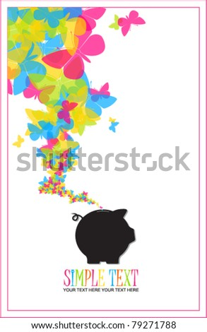 Piggy bank with butterflies. Vector illustration. - stock vector