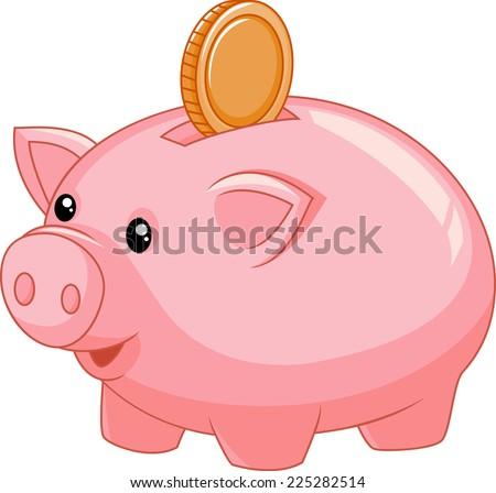 Piggy bank with coin - stock vector