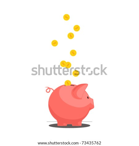 Piggy bank with coins. Vector illustration. - stock vector