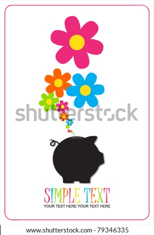 Piggy bank with flowers. Vector illustration. - stock vector