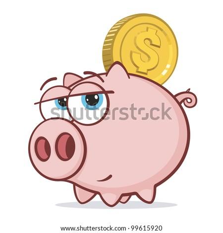 Piggy Bank with Gold Dollar Coin - stock vector