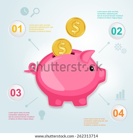 Piggy bank with golden coins. Planning infographics. - stock vector
