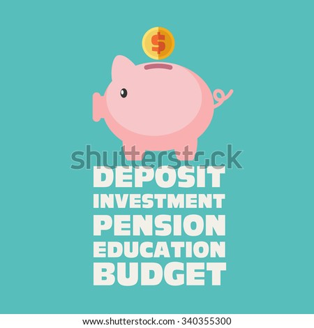 Piggy bank with inscriptions: education, deposit, investment, pension, budget . Saving and investing money concept. Future financial planning concept. Modern vector design style - stock vector