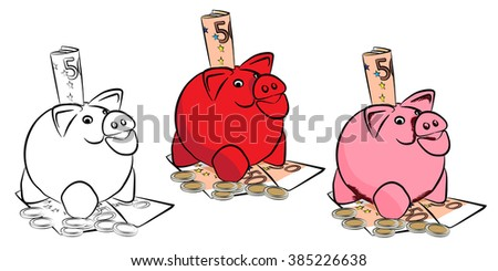 Piggy bank with money. Money box with coins. Isolated on the white background. Vector illustration. - stock vector