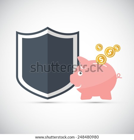 Piggy bank with shield - protected savings - EPS10 vector file - stock vector