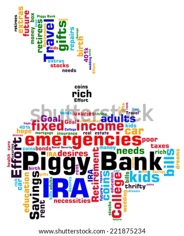 Piggy Bank word cloud infographic. Shape shows a hand depositing a coin into the iconic piggy bank. Concepts of saving for a rainy day or goals. VECTOR. - stock vector