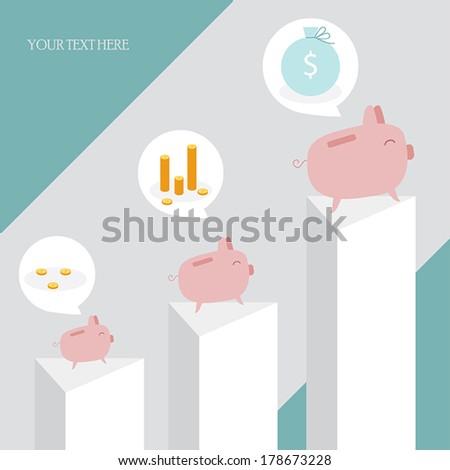 Piggy banks on charts. Cute cartoon style.Vector illustration - stock vector