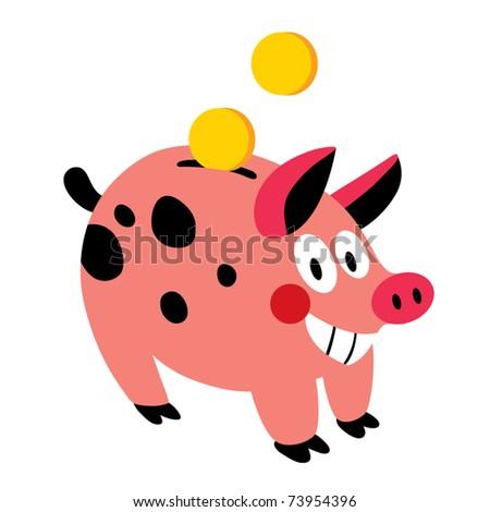 Piggy box - stock vector