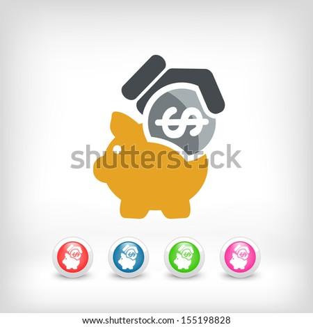 Piggy coin icon - stock vector