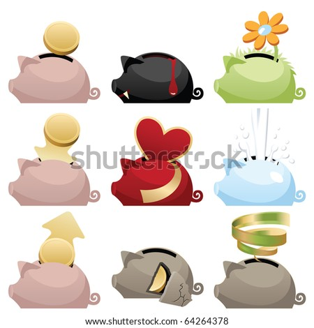Piggy icons set - stock vector