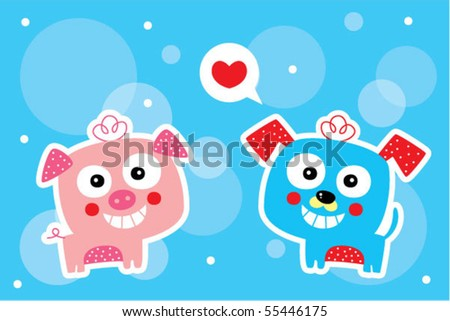 piggy loves puppy - stock vector