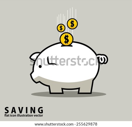 PIGGY MONEY BANK.outline design style vector illustration concept - stock vector