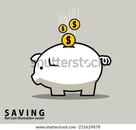 PIGGY MONEY BANK.outline design style vector illustration concept - stock vector
