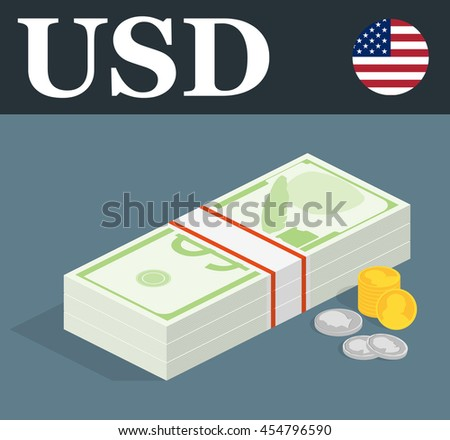Pile banknotes with coins. Money illustration. - stock vector