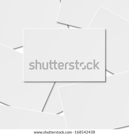Pile of blank business card on white background with soft shadows. Vector illustration. EPS10. - stock vector