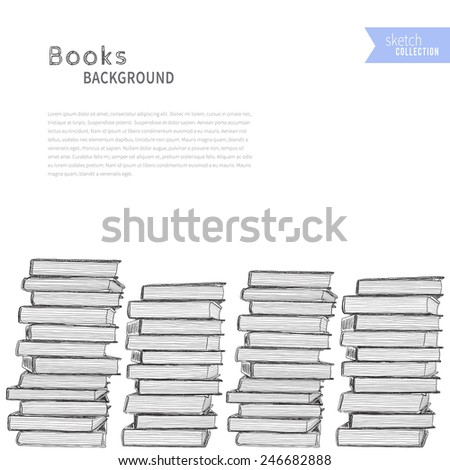 Pile of books background. Vector illustration.