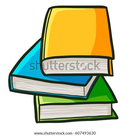 pile books study cartoon style vector stock vector 607493630 rh shutterstock com cartoon picture of stack of books cartoon stack of books black and white