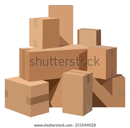 Pile of cardboard boxes on a white background - stock vector